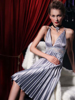 Pleated Satin Nightgown